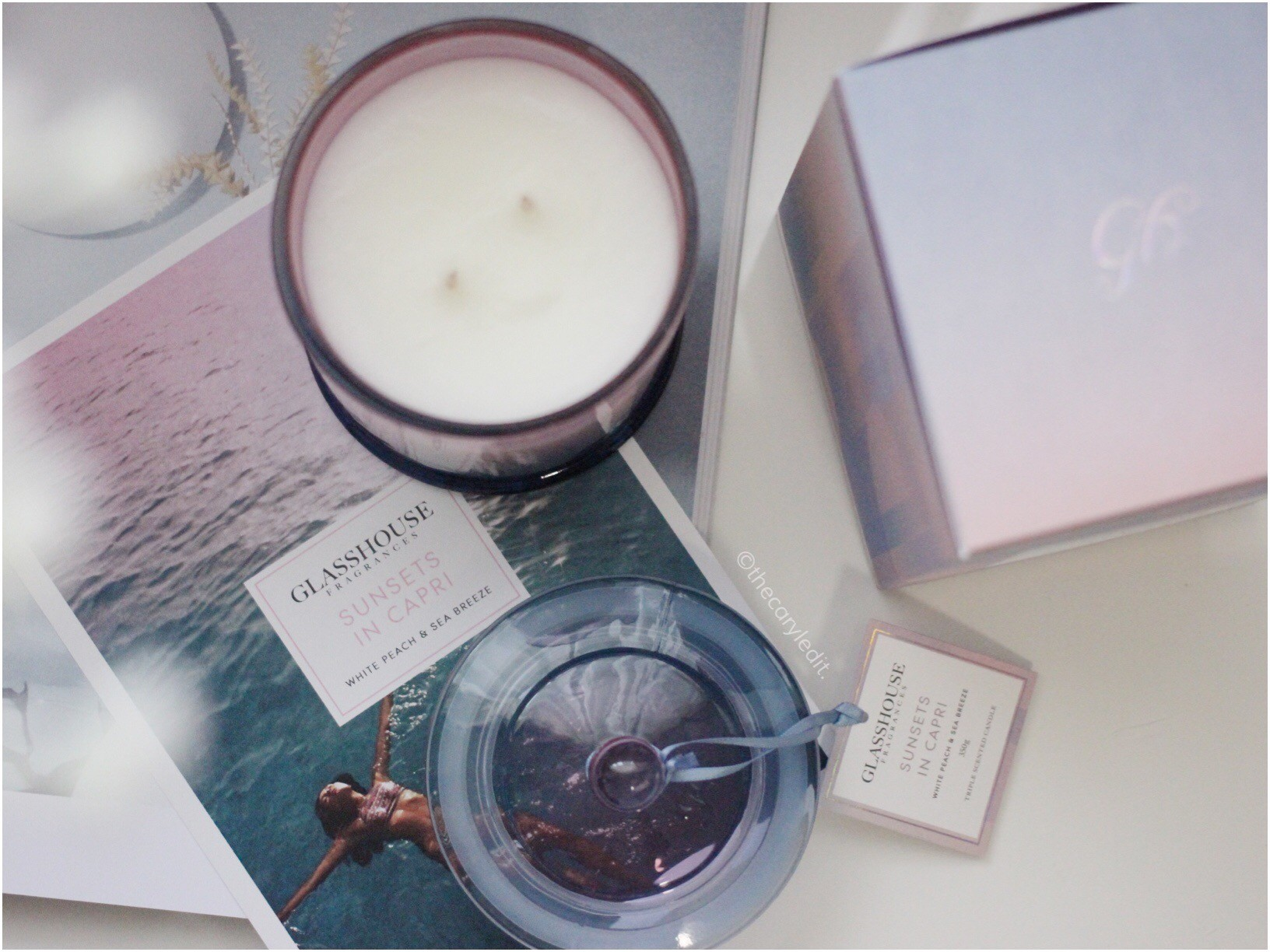 GLASSHOUSE FRAGRANCES: Sunsets In Capri Triple Scented Candle